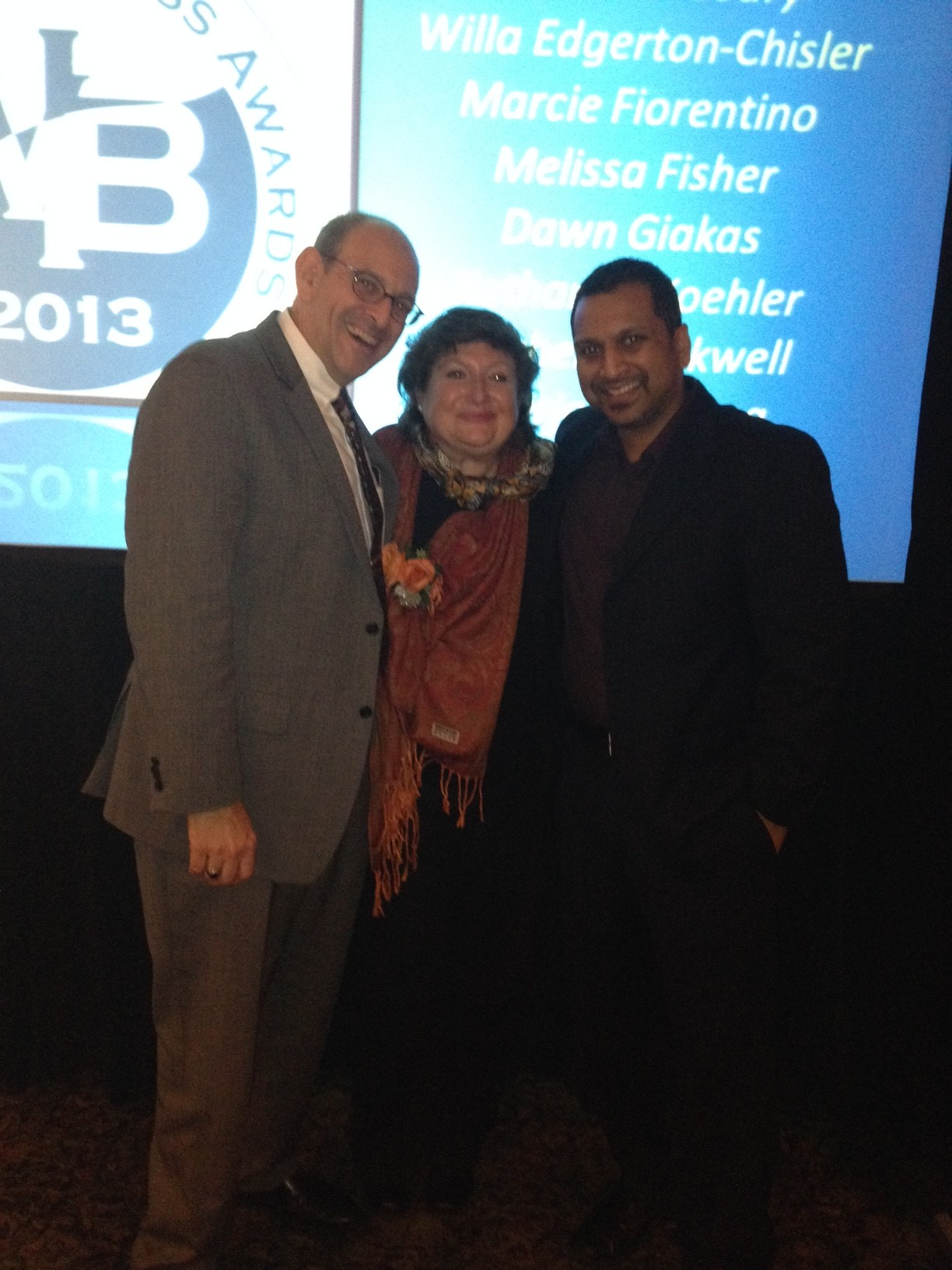 Marcela Zuchovicki with Sunny Kancherla and Vincent Vicari from SBDC at the Women in Business Award Banquet